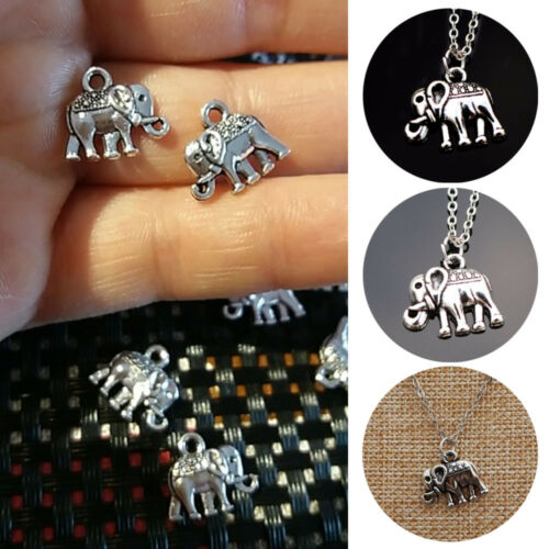 10//20//50Pcs Tiny Elephant Connector Charms for Earrings Necklace Pendant Silver