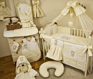 Babybett mit 10-tlg Komplett-Set Bettwäsche Matratze Nestchen Herzchen Blau Neu
