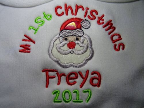 Personalised Embroidered HAPPY OR MY 1ST CHRISTMAS BABY BIB GIFT KEEPSAKE UNIQUE
