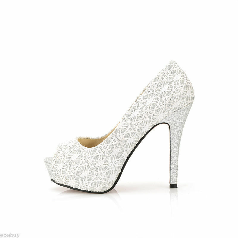 Schuhe Decolté tipo pizzo tacco stiletto 11,8 cm bianco eleganti  8446