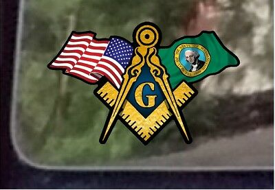 "ProSticker 086 One 3/"" x 5/"" American Navy Flags Masonic Decal Sticker USA"
