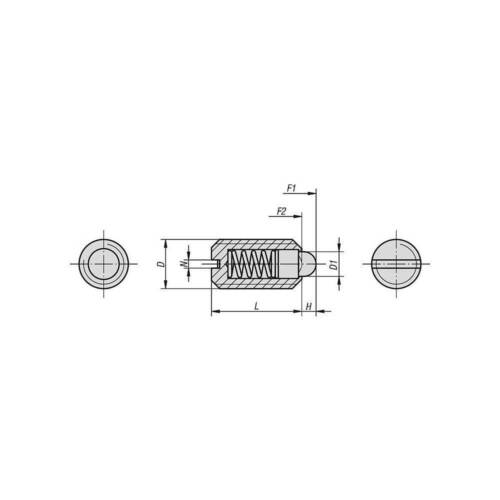 Druckstück M10 Stahl normaler Federdruck Federnde Druckstücke mit Schlitz u