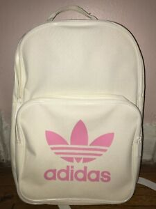 Details about Adidas Originals Classic Trefoil Backpack White With Pink Logo