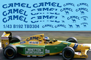1/43 B192 Benetton Ford F1 1992 Decal Missing Sponsor Decals Tbd304