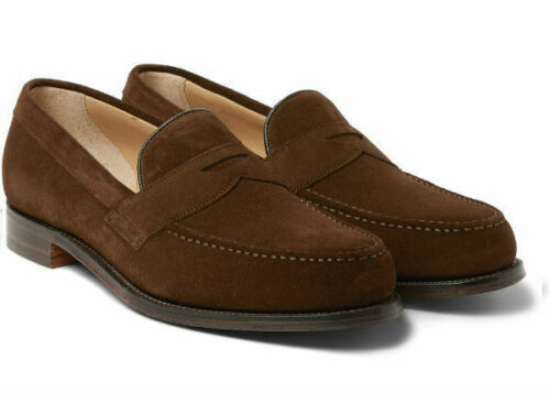 Mens Handmade shoes Brown Suede Loafers bluee Lining Red Sole Formal Casual Wear