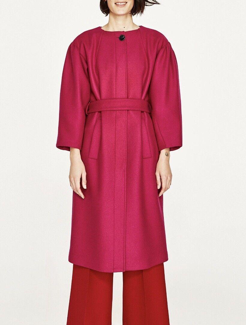 Zara Women's Women's Women's Coat Full Sleeves Fushia Size XS NWT 871a01
