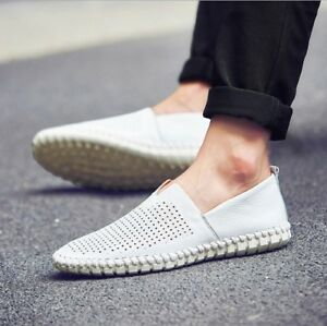 2019 Men S Driving Casual Boat Shoes Leather Loafers Slip On Summer