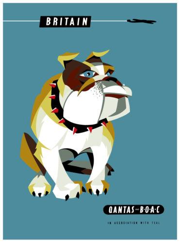 A1 qantas boac travel  britain bulldog art uk print poster painting Australia
