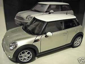 mini cooper bmw grise toit blanc 1 18 kyosho 08741s voiture miniature collection ebay. Black Bedroom Furniture Sets. Home Design Ideas