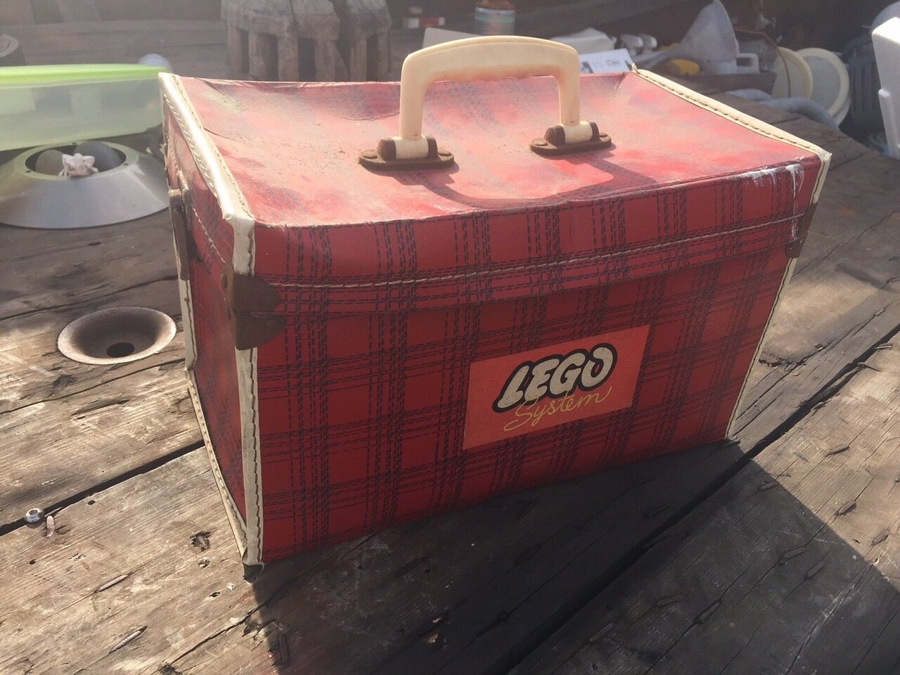 VINTAGE LEGO SYSTEM CASE BOX BAGAGLIAIO RARE Early ORIGINALE Retrò Tartan