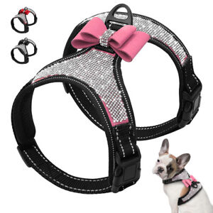Bling-Rhinestone-Dog-Harness-Diamante-Collar-Crystal-Bowtie-Reflective-Nylon