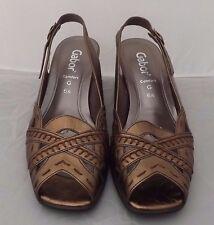 Ladies Gabor Comfort Gold Leather Block Heel Sling Back Sandals UK 6.5 G
