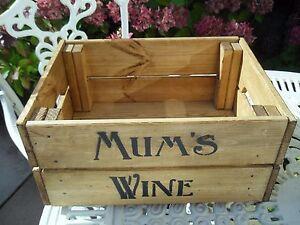 Vintage-Wooden-Mum-039-s-Wine-Gift-Hamper-Wine-Crate-Box-Storage-Shabby-Chic-Retro