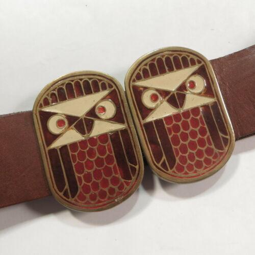 Vtg 1970s Owl Buckle Leather Belt Lee Bernay Golde