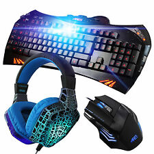 ARES K5 7 Backlit Gaming Keyboard CT820 Cracked Blue Headset 3200DPI Mouse Combo