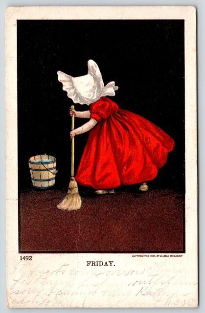 Bernhardt Wall~Sunbonnet Girls Days of Week~Friday Mop Bucket~1906 Ullman