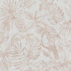 Sankuru-Papier-Peint-Gris-Dore-Rose-164502-muriva-Chambres-a-Coucher-Palmier