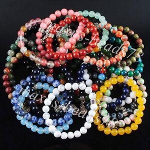 Fashion-Jewelry-Stones-Round-8mm-Buddha-Beads-Stretch-Bracelet-7-Inches-MBK157