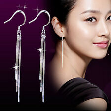 Fashion Women's Solid Silver Luxury Chain Dangling Earrings Wedding Jewelry