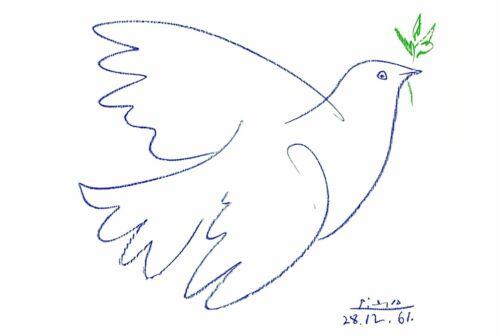 Kunstdruck Poster Colombe Bleue Friedenstaube Taube Ölzweig Bild 60 x 80 cm