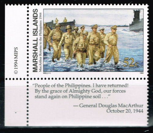 Marshall Isl WW2 MacArthur Returms to the Philippins in 1944 MNH stamp