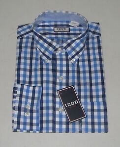 Nwt mens izod blue navy white checkered long sleeve button for Navy blue checkered dress shirt
