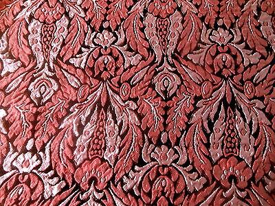 Vintage Retro Elegant French or Italian Brocade Fabric ~Drk Raspberry Pink Black