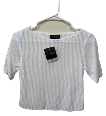 Brand New Ex Topshop Ribbed Short Sleeve Zip White Crop Top Sizes 6-14