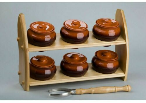 6 Baking Stewing Stoneware Clay Cooking Pots w/Lids & Oven Fork on Wooden Shelf