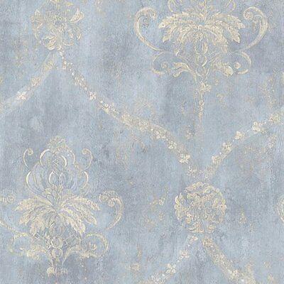 "12""/31cm Wallpaper SAMPLE Blue & Cream Weathered Damask"