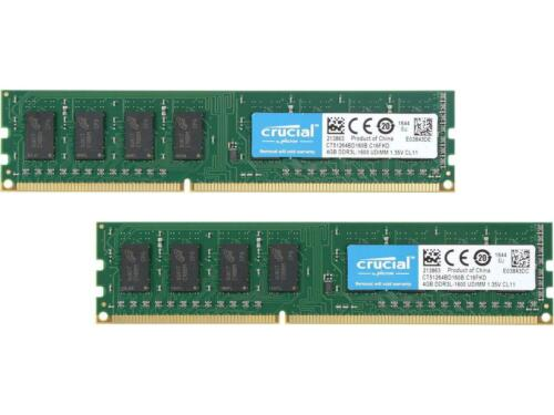 240-Pin DDR3 SDRAM DDR3L 1600 PC3L 12800 2 x 4GB Desktop Memory Crucial 8GB