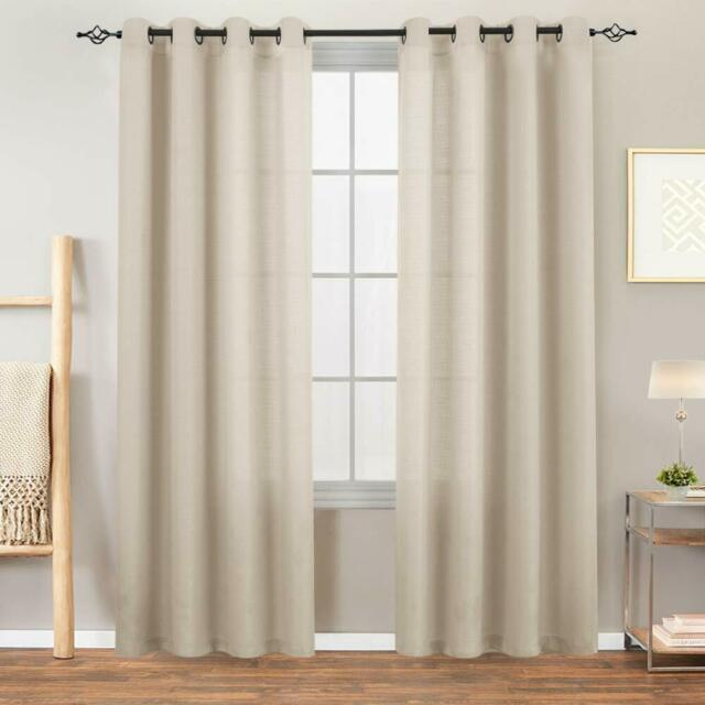 2 Panels Tier Curtains 24 inch Rod Pocket for Kitchen Casual Weave Textured Cafe Curtain Semi Sheer Short Curtain for Bathroom Half Window W68xL24 Set,Thick,Beige