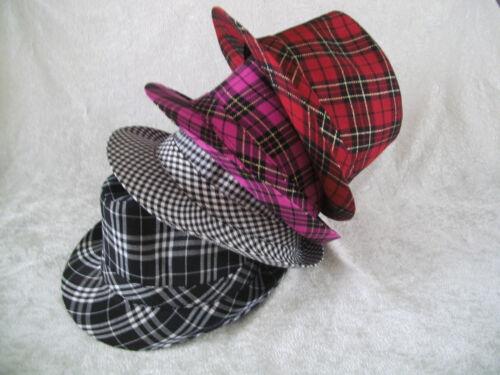 Trilby Hut Trilbyhut kariert schwarz weiß pink rot sombrero hat cappello NEU
