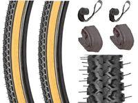 700x38c Tires Set + 2 Tubes + 2 Rim Strips Gumwall Knobby Hybrid Comfort Cross