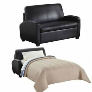 Details about Sleeper Sofa Black Leather convertible comfortable loveseat  chair couch bed NEW!