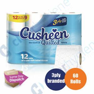 Cusheen-White-60-Toilet-Tissue-Rolls-3-Ply-Luxury-Quilt-Bathroom-Strong-Paper