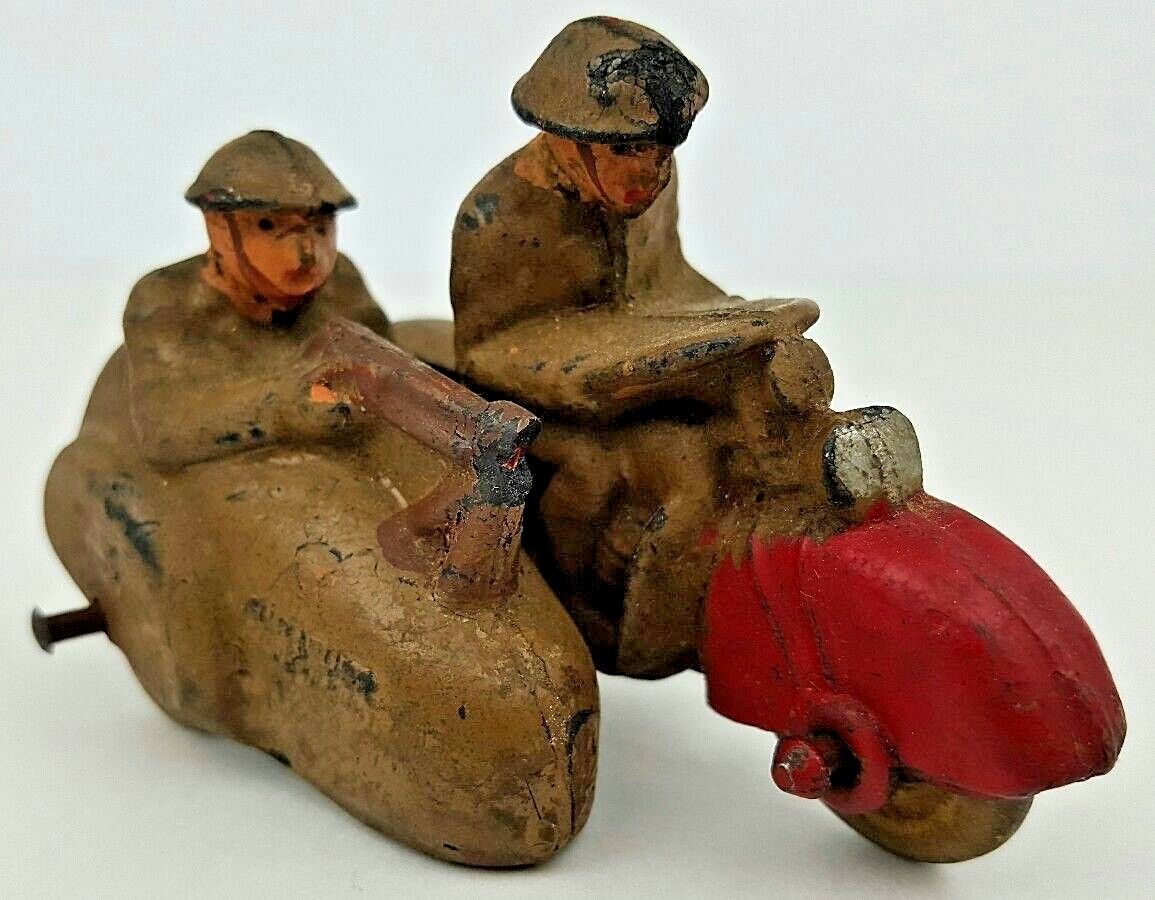 Antique Auburn Military Motorcycle w  Sidecar & Soldiers Hard Rubber Toy
