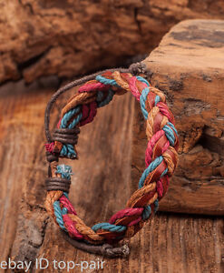 Handmade-Mens-Cool-Multi-Color-Surfer-Hemp-Leather-Braided-Bracelet-Bangle-Cuff