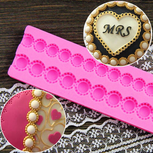 Pearl Bead Chain Silicone Fondant Mould Cupcake Cake Decorating Mold Baking Tool