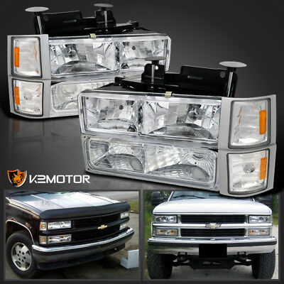 94 98 Chevy Silverado Tahoe Suburban Chrome Headlights Clear Corner