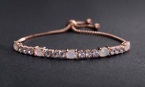 Genuine-Crystals-amp-Fire-Opal-in-Rose-Gold-Adjustable-Tennis-Bracelet-for-6-034-9-034