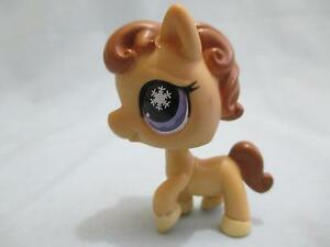 Littlest-Pet-Shop-Pony-Horse-Tan-Purple-Snowflake-Eyes-684-Authentic-Lps