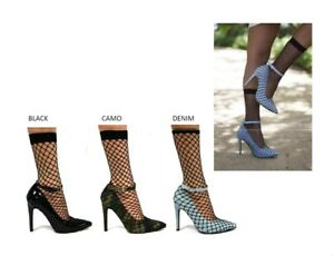 6afa7a700e2 New Womens Pointy Toe Fishnet Mesh Sock Pump Shoes Booties Ankle ...