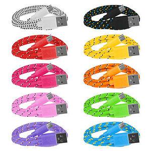 10x-Micro-USB-Ladekabel-Datenkabel-1m-Nylon-Kordel-fuer-Samsung-Huawei