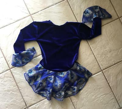 NEW Girls ROYAL Peacock BIRD Feather VELVET Competition FIGURE ICE SKATING Dress