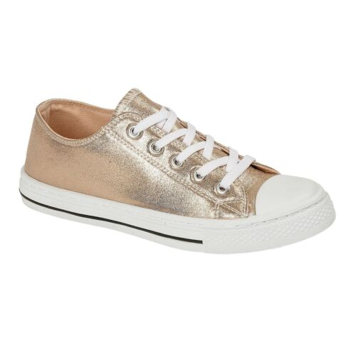 METALLIC KIDS CHILDRENS GIRLS CANVAS CASUAL SHOES PUMPS TRAINERS LACE UP