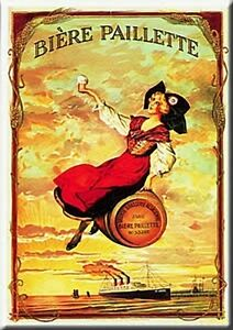 French-Advertising-Metal-Sign-Biere-Paillette-Beer-Alsace-Girl-on-Keg