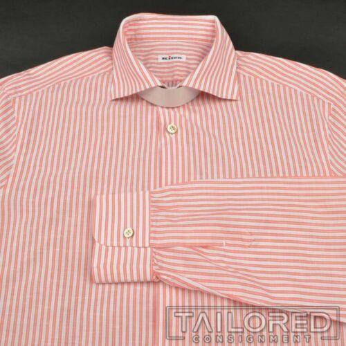 KITON Orange Striped Cotton Linen Mens Luxury Dres