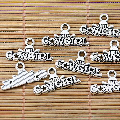 20pcs Tibetan silver cowgirl charms EF1380