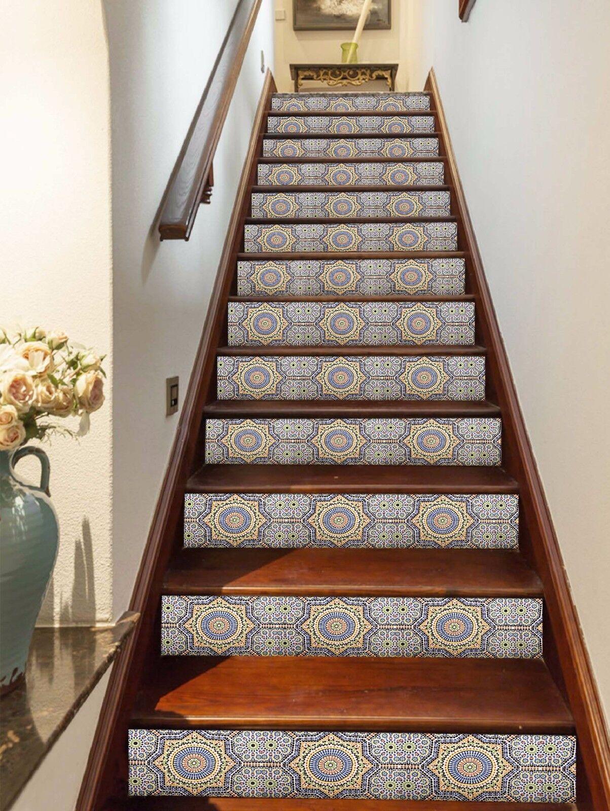 3D Grid 448 Stair Risers Decoration Photo Mural Vinyl Decal Wallpaper UK Lemon